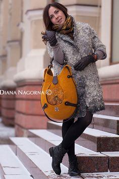 Yellow felt  bag , Felted Wool Tote Bag, Felted Shoulder Tote Bag, Pouch, ,Big Bag For Women, Wool and Leather Bag, Handbag