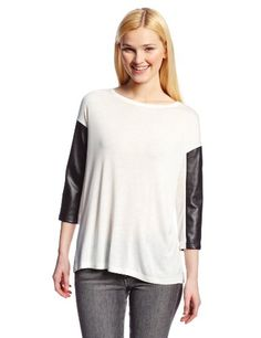 BB Dakota Women's Galiana Vegan Leather Sleeve Knit Top, Dirty White/Black Pu, Medium BB Dakota http://www.amazon.com/dp/B00HHGQHNY/ref=cm_sw_r_pi_dp_N0rrub15HEHZ0
