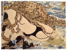 Masami Teraoka, modern Ukiyo-e Le Kraken, Octopus Illustration, Octopus Sketch, Octopus Art, Motif Art Deco, Renaissance Paintings, Japanese Prints, Japan Art, Illustrations