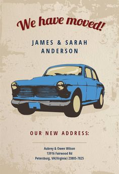 Car Classic - Moving Announcement #announcements #printable #diy #template #Moving #newaddress #newhome Invitation Cards, Invitations, Moving Announcements, Text Messages, Classic Cars, Create Yourself, Templates, Printable, Party