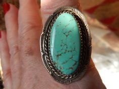 size 13 green blue turquoise rare ring Native American Jewelry Native American ring southwest jewelry Texas Navajo jewelry by LittleCherokeeValley on Etsy
