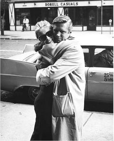 Audrey Hepburn and George Peppard behind the scenes of Breakfast at Tiffany's, 1961.