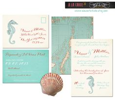 Nautical or Beach Destination Wedding Invitation  and RSVP Cards - Nautical Wedding. $40.00, via Etsy.