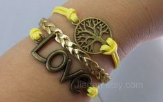 The tree of life bracelets#tree of hope#love bracelet#bronze#gold leather#fashion accessories#charm jewelry#bright yellow#Loving home#wish#
