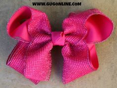 Hot Pink Sparkle Hair Bow www.gugonline.com $12.95