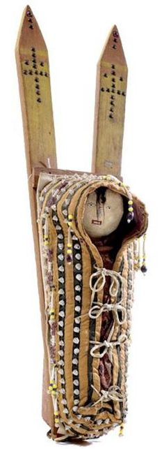 Cradle Board | Cheyenne Tack Decorated With Hide Doll 27 inch, 1916.