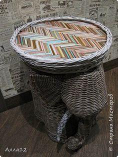 Поделка изделие Папье-маше Плетение Слон - столик минибар И еще кое-что Бумага Материал бросовый Трубочки бумажные фото 1