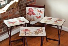 Furniture,TV Trays with Stand, Ruby,Wood,Set of 4 by Highland Crafts. $179.88