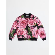 Dolce & Gabbana Printed Nylon Bomber Jacket (€335) ❤ liked on Polyvore featuring outerwear, jackets, rose print, nylon bomber jacket, flight jacket, white bomber jacket, nylon flight jacket and blouson jacket