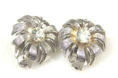 Lisner Rhinestone Earrings Flower Design, Vintage by TheFashionDen on Etsy https://www.etsy.com/listing/247106562/lisner-rhinestone-earrings-flower-design