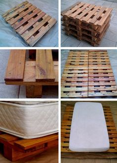 DIY Wood pallet platform bed-screw plywood to fit top, some wood blocks to lift it slightly more, area rug to over plywood.....style and storage!!!