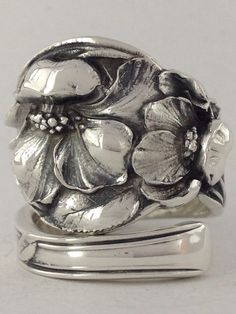 Size+9+Vintage+Sterling+Silver+Floral+Spoon+Ring+by+NotSoFlatware,+$99.99