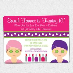 Spa Birthday Party Invitation, Printable, Girl, Child, Make Up, Mani Pedis, Facials, Pampering, DIY digital file  www.OhCreativeOne.etsy.com