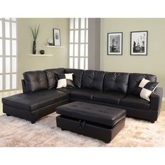 Delma 3 Piece Faux Leather Left Facing Chaise Sectional Set | Overstock.com