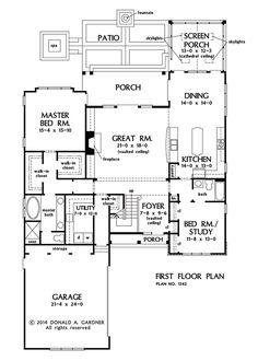 First Floor Plan of The Mahoney - New European Cottage Design 1342