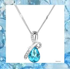 BEAUTIFUL AQUAMARINE BLUE CRYSTAL RHINESTONE TEARDROP SHAPED PENDANT NECKLACE #Pendant