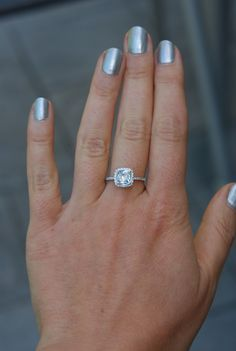 White sapphire engagement ring. Cushion cut sapphire ring by Eidelprecious.  #wedding #weddinginspiration