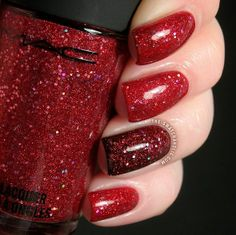 Stunning nails for the Holidays.MAC Sparks on Screen over MAC Flaming Rose.. and over a black accent nail