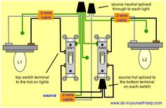 How to wire two light switches with 2 lights with one power supply two switches control two lights cheapraybanclubmaster Choice Image