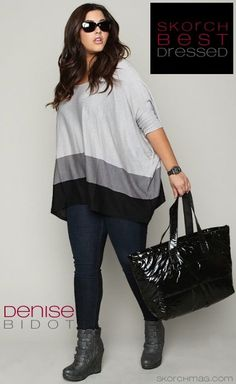 black and white tshirt, blue jeans, black bag and black shoes plus size