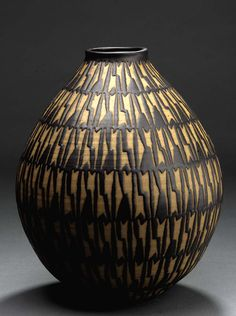 Beautiful example of Clyde Burt's finely detailed latex-resist work, on a vase form. (Pinned from the board of one of his nephews—thank you!)