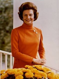 (April 8, 1918 - )  Wife of Gerald Ford, the only U.S. President (1974 - 1977) who wasn't elected as President or Vice President, she was an unexpected First Lady in many ways. She made public her battles with breast cancer and chemical dependence (the Betty Ford clinic is named for her), and she endorsed the Equal Rights Amendment and women's right to abortion.