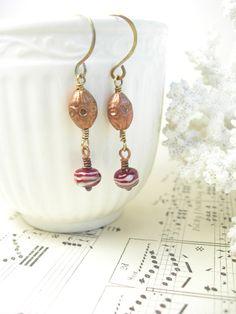 Hearth fire lampwork rustic earrings mixed by pamelasjewelry, $28.00