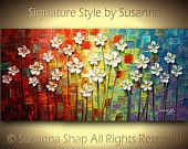 ORIGINAL Large Abstract Contemporary Silver Flowers Landscape Heavy Texured Modern Multicolored Painting  by Susanna Ready to Hang 48x24. $375.00, via Etsy.