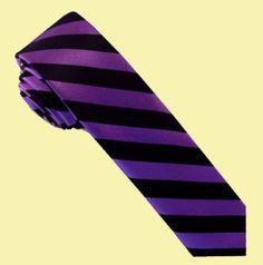 Purple Black Stripes Groomsmen Groom Wedding Slim Skinny Mens Neck Tie