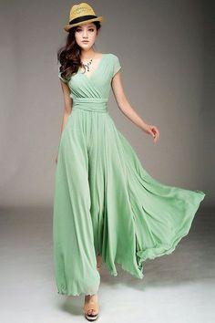 Elegant Vestido De Festa 2015 V Neck Short Cap Sleeve Long Chiffon Light Green Bridesmaid Dresses HB1021 Party Spring Women
