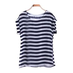 Navy Short Sleeve Striped Chiffon T-Shirt (20 CAD) found on Polyvore