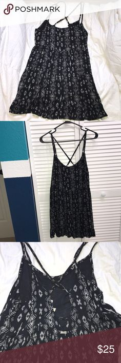 Dress Black dress. Very flowy! 100% Rayon. Very comfy in the summer time. Has been worn but in very good condition. Straps are adjustable. Is very cute with a lace bra/bandeau 🌸 Dresses Mini