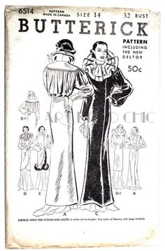 Butterick 6514 | 1930s Evening Wrap for Women and Misses