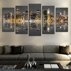 2017 Special Offer 5 Panels Modern City Views Modular Picture Canvas Print Painting Wall Art For Home Decor (no Frame) New Modern Wall Decor, Wall Art Decor, Canvas Wall Art, Wall Art Prints, Canvas Prints, Night Skyline, Thing 1, Modern City, Canvas Pictures