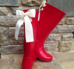 Tall Raspberry Red Boots with Ivory bow    4 Silver Eyelets for easy removal of ribbon    ++If you would like a different color/pattern bow