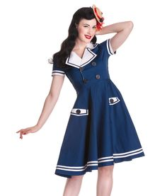 """Beautiful nautical inspired 50's dress made from heavy stretch cotton.  Short sleeves with sailor style lapel collared neckline.  Fitted bodice with black anchor & rope motif button fastenings and invisible zip to side.  Circular skirt finished with white sailor strip hemline.    Can be worn with a Hell Bunny 20"""" length petticoat to make the dress fuller.  Petticoat is not included with the dress but available to purchase separately in our shop.          Machine washable      Material: 98%…"""