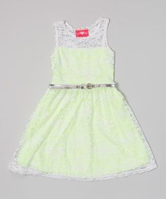 Look what I found on #zulily! Lime Lace Belted Dress - Toddler & Girls by Girls Luv Pink #zulilyfinds