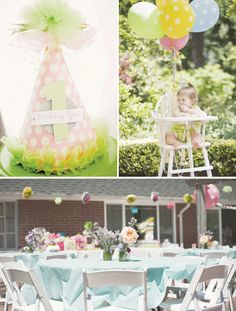 Polka Dot & Pinwheel First Birthday Party // Hostess with the Mostess®  First birthday party ideas and inspiration-- invitations, decorations, cake, cupcakes, party favors, dessert table