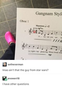 What the heck is wrong with that sheet music?<— I️ was gonna ask why the heck she's wearing crocks but that's a good question too...