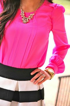 Hot Pink, classy black and white skirt! Love this!