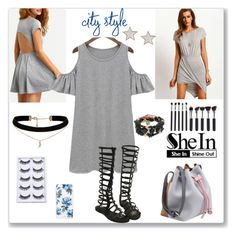 """""""Shein Grey Style"""" by ludmyla-stoyan ❤ liked on Polyvore featuring Givenchy, ASOS, Sonix, dress, sandals, choker, shoulder and shein"""