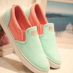 [grxjy5190022]Latest Simple Contrast Colour  Canvas Loafers