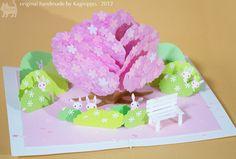 original handmade pop-up card [Sakura] ------------------------- http://youtu.be/pZ3Tuwjoe5w