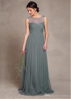 Buy wholesale polka dot bridesmaid dresses,popular bridesmaid dresses along with stylish bridesmaid dresses on DHgate.com and the particular good one-bateau neckline sleeveless sheer neck pleats tulle sweep train long bridesmaid dresses gray fancy bridesmaid gowns custom made is recommended by lpdress at a discount.