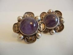 40s earrings / Vintage 1940's Amethyst by Planetclairevintage, $68.00