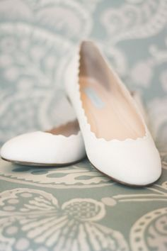 Delicate Scalloped Bridal Flats for Dancing! | Brit Jaye Photography | See More! http://heyweddinglady.com/vintage-nautical-wedding-on-a-yac...