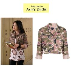 Lucy Hale as Aria Montgomery inPretty Little Liars- (Ep. 401). Aria's JacketTopshop Pink Camo Cropped Jacket $84here. MorePLLstylehere. More outfits from Ep. 401here. Source:ABC Family/@LauraSabaStyle P.S.Just signed up  posting updates onPinterest:)