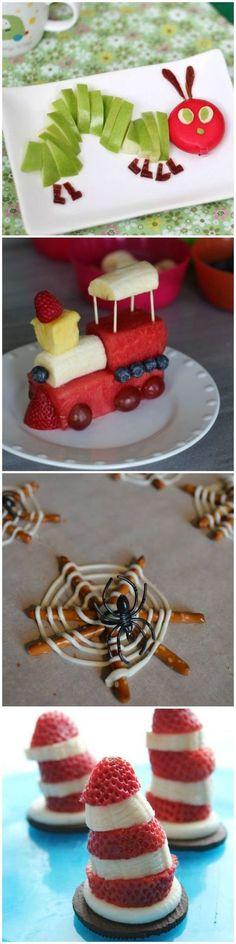 Essen anrichten, dekorieren, Deko, Zug aus Obst, Spinnennetz Spinne, für Kinder,mit Kindern, Party Gäste feiern Feier, Häppchen