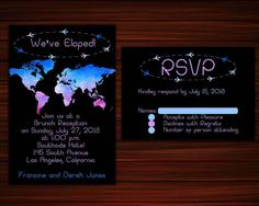 Items similar to Map Elopement Invitation and RSVP, Elopement Party Watercolor Wedding Invitation, Elopement Invitation We Eloped, Just Married Digital DIY on Etsy Watercolor Wedding Invitations, Party Invitations, Elopement Party, Mini Champagne, Wedding Labels, Just Married, Rsvp, Print Design, Reception