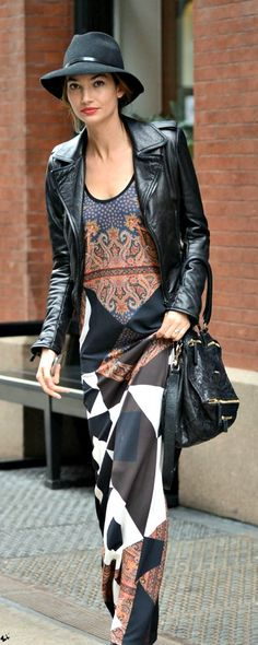 # MAXI DRESS W/ BLACK LEATHER JACKET & BAG, FELT & LEATHER HAT
